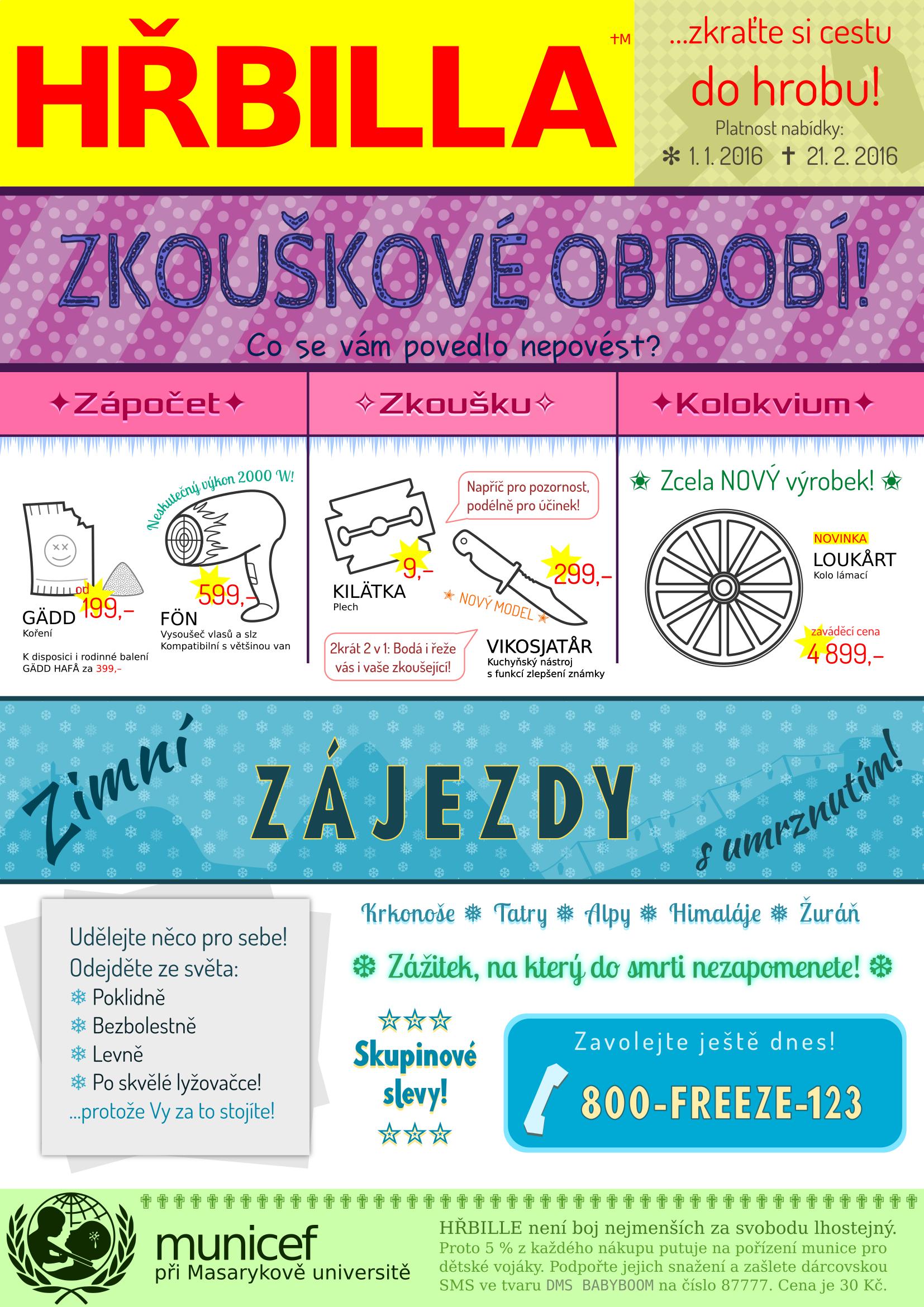 Plakát HŘBILLA – zkouškové 2016